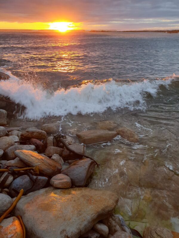 wave breaking on rocks at sunset