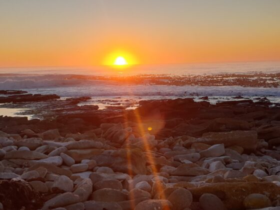 sunset over rocks on our day outdoors evening stroll