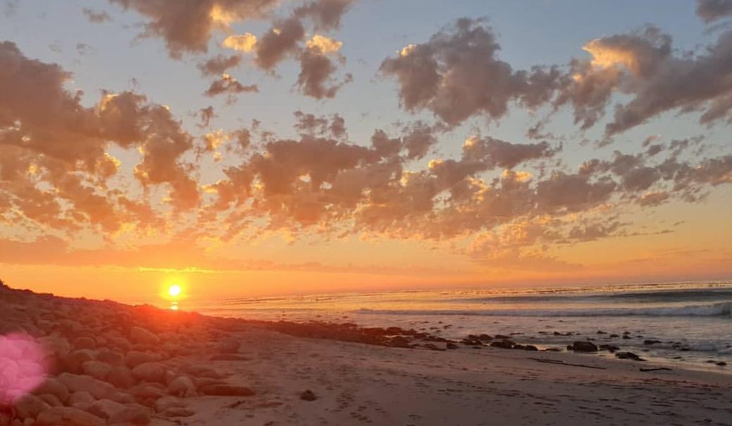 bright orange beach sunset