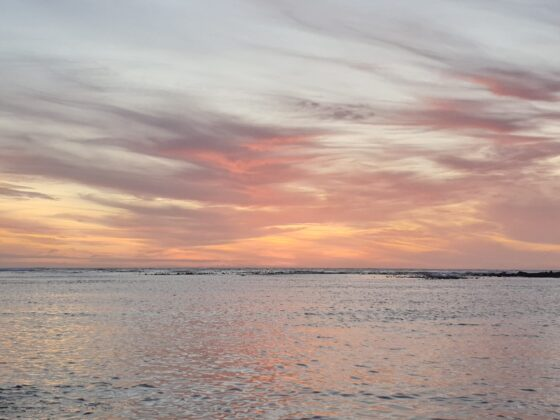 rippling ocean and pink sunset sky