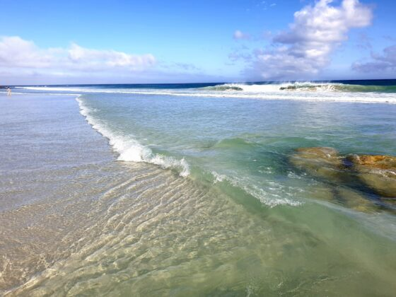 wave and sand and shallows