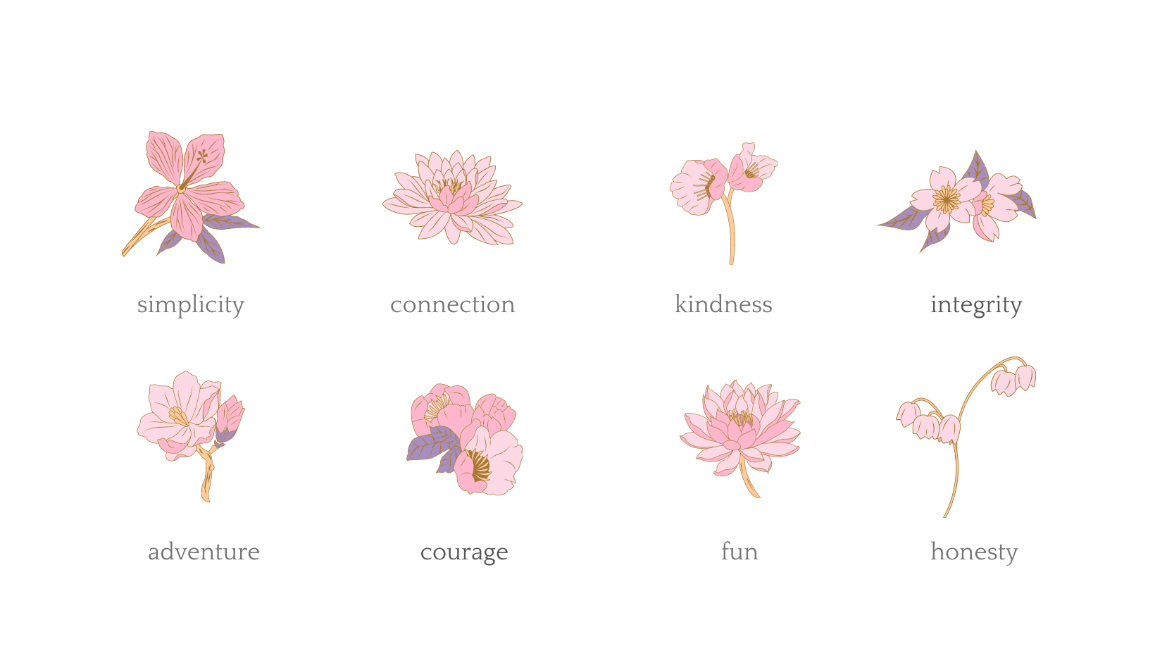 my values are simplicity integrity connection joy quality kindness honesty adventure